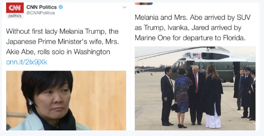CNN falsely reports that FLOTUS was not meeting with Akie Abe during Japan visit.png