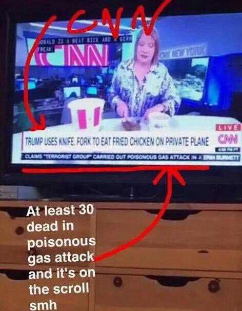 CNN reports on Trump eating KFC with fork, as poisonous gas attack scrolls by in small text